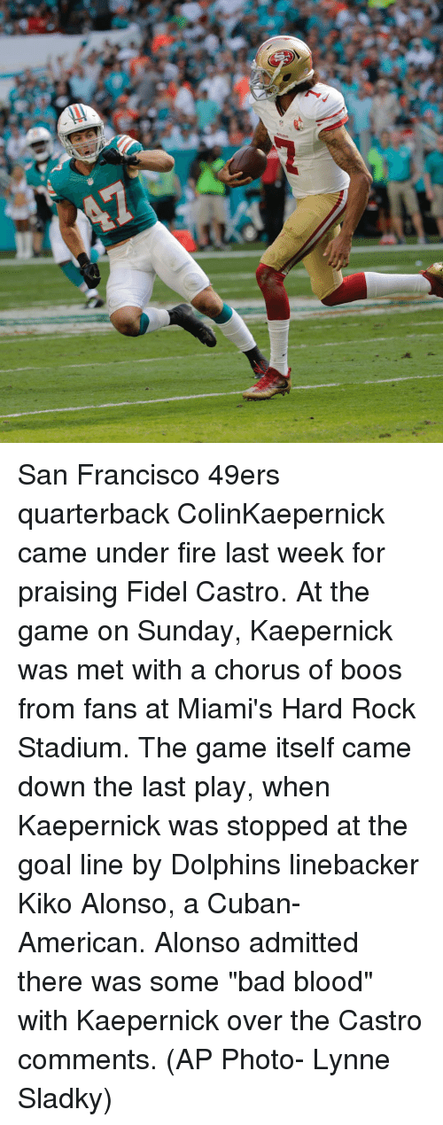 """San Francisco 49ers: San Francisco 49ers quarterback ColinKaepernick came under fire last week for praising Fidel Castro. At the game on Sunday, Kaepernick was met with a chorus of boos from fans at Miami's Hard Rock Stadium. The game itself came down the last play, when Kaepernick was stopped at the goal line by Dolphins linebacker Kiko Alonso, a Cuban-American. Alonso admitted there was some """"bad blood"""" with Kaepernick over the Castro comments. (AP Photo- Lynne Sladky)"""