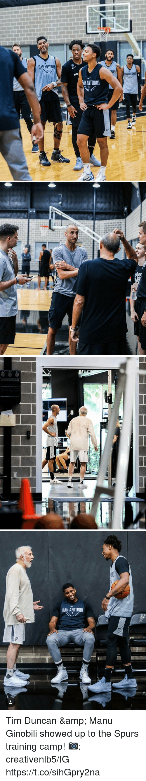Manu Ginobili, Memes, and Tim Duncan: SANANTOND  AN ANTONID   GAN ANTONID Tim Duncan & Manu Ginobili showed up to the Spurs training camp!  📷: creativenlb5/IG https://t.co/sihGpry2na