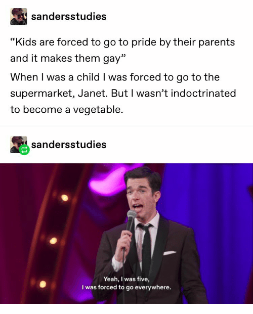 """Vegetable: sandersstudies  """"Kids are forced to go to pride by their parents  and it makes them gay""""  When I was a child I was forced to go to the  supermarket, Janet. But I wasn't indoctrinated  to become a vegetable.  sandersstudies  Yeah, I was five,  I was forced to go everywhere."""