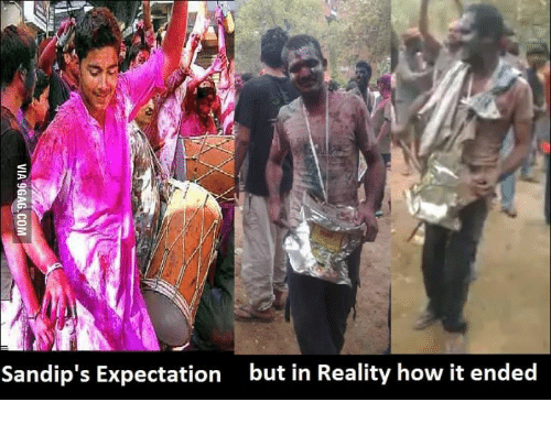 Holi Pics: Sandip's Expectation but in Reality how it ended