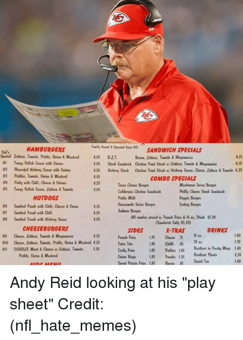 """Andy Reid, Memes, and Nfl: SANDWICH SPECIALS  Beca, lettuce, Tratate&aessaie  Sace 1357  HAMBURGERS  Del'  4.15  4.15  #1  Tangy Relish Sauce uith 0cim  4.05 Steak Souduick Chickex Fried Steak w/Dettece, Teate&Magreaise  4.05  4.25  4.05  COMBO SPECIALS  Teas Cheese Bage  Cobijersia Chicken Souduic  Puilty Cheee Steak Sondaich  Deggie Batger  Tatkey Bangn  HOTDOGS  Guacamale Suiss Bange  4.25  4.05  4.05  lt cemdes sewed u/Frewck Fries &16 ez. Drisk $7.39  Sandarick Only $5.20)  X-TRAS  #8  Snaked Fuak uith Hickety Sauce  CHEESEBURGERS  SIDES  DRINKS  16 82.  1.40  1.70  4.25  Peies LS Reeheer i Fusty Wags 1.40  2.35  #11  DOUBLE Meat & Claese w/fattare. Traut.  5.55  nia Rags 85 Fuaxks 1.35  Seet Petate Fries 85 Bc5Sweet Tea  1.40 Andy Reid looking at his """"play sheet"""" Credit: (nfl_hate_memes)"""