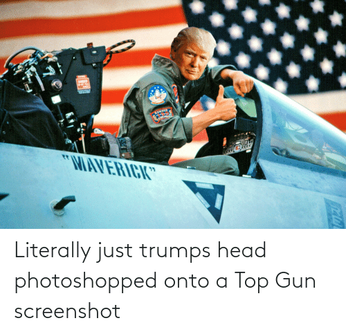 "Sanged: SANGED  ""MAVERICK"" Literally just trumps head photoshopped onto a Top Gun screenshot"