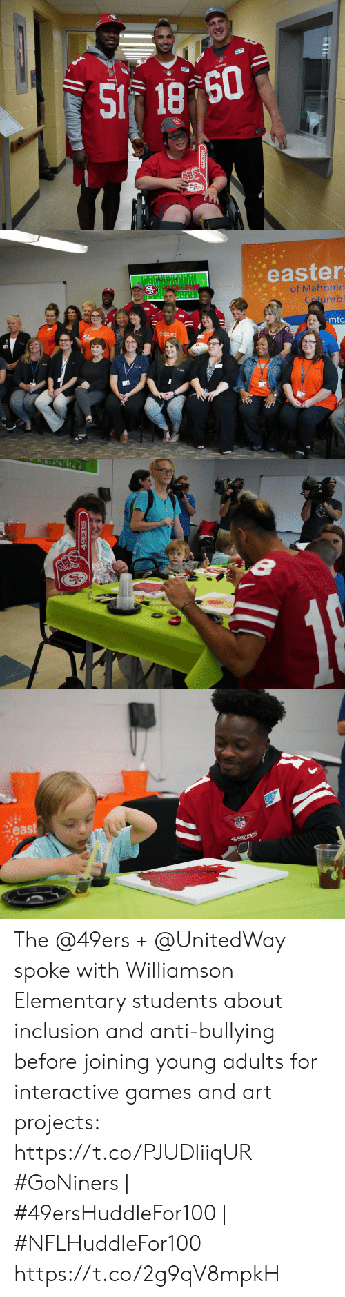 49er: SAP  49ER  49ERS  S1 18 60  49ERS  19ERS   easter  Welcome  of Mahonin  Calumbi  .mtc.   49ERS   east  SAP  NFL  49ERS The @49ers + @UnitedWay spoke with Williamson Elementary students about inclusion and anti-bullying before joining young adults for interactive games and art projects: https://t.co/PJUDIiiqUR  #GoNiners | #49ersHuddleFor100 | #NFLHuddleFor100 https://t.co/2g9qV8mpkH