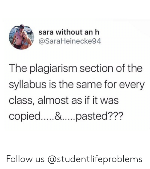 plagiarism: sara without an h  @SaraHeinecke94  The plagiarism section of the  syllabus is the same for every  class, almost as if it was Follow us @studentlifeproblems