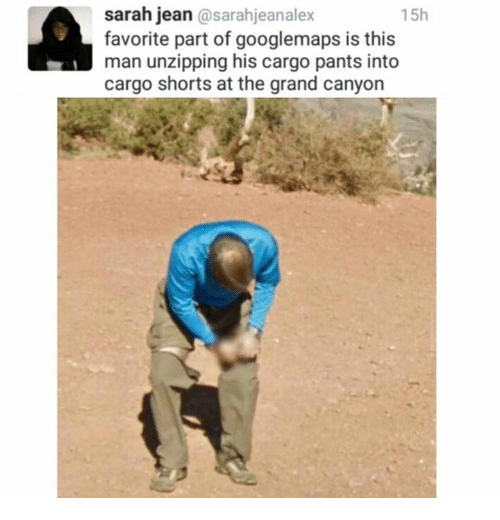 the grand canyon: sarah jean  osarahjeanalex  15h  favorite part of googlemaps is this  man unzipping his cargo pants into  cargo shorts at the grand canyon