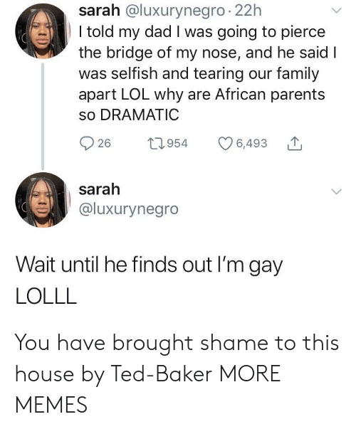 tearing: sarah @luxurynegro 22h  I told my dad I was going to pierce  the bridge of my nose, and he said I  was selfish and tearing our family  apart LOL why are African parents  so DRAMATIC  26 1954 6,493  sarah  @luxurynegro  Wait until he finds out I'm gay  LOLLL You have brought shame to this house by Ted-Baker MORE MEMES