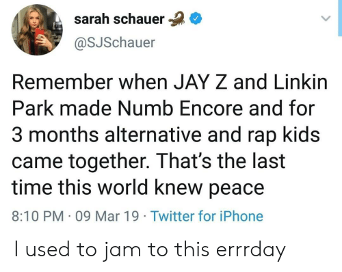 Jay Z: sarah schauer  @SJSchauer  Remember when JAY Z and Linkirn  Park made Numb Encore and for  3 months alternative and rap kids  came together. That's the last  time this world knew peace  8:10 PM 09 Mar 19 Twitter for iPhone I used to jam to this errrday