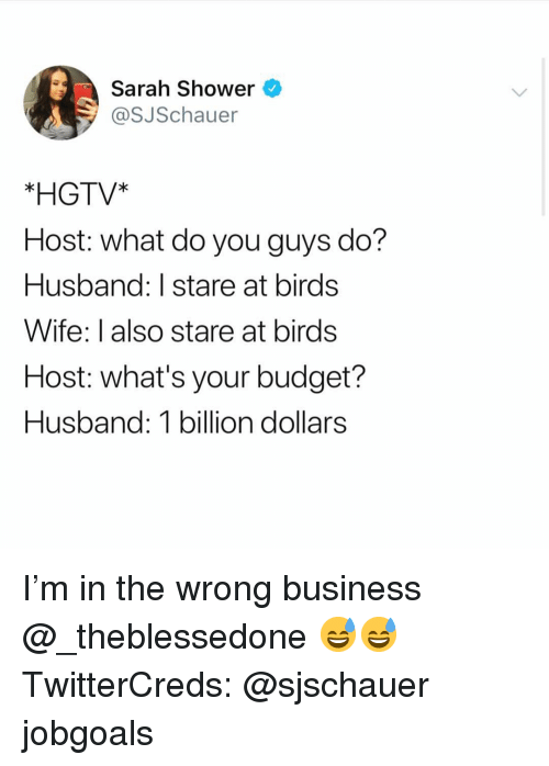 Hgtv: Sarah Shower  @SJSchauer  *HGTV*  Host: what do you guys do?  Husband: I stare at birds  Wife: I also stare at birds  Host: what's your budget?  Husband: 1 billion dollars I'm in the wrong business @_theblessedone 😅😅 TwitterCreds: @sjschauer jobgoals