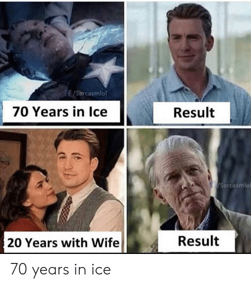 20 Years: /Sarcasmlol  70 Years in Ice  Result  /Sarcasmlo  Result  20 Years with Wife 70 years in ice