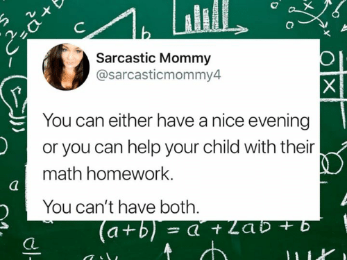 sarcastic: Sarcastic Mommy  @sarcasticmommy4  You can either have a nice evening  or you can help your child with their  math homework.  You can't have both.  CL