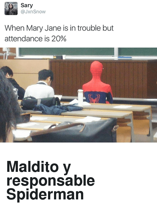 Mary Jane: Sary  @JxnSnow  When Mary Jane is in trouble but  attendance is 20% <h2>Maldito y responsable Spiderman</h2>