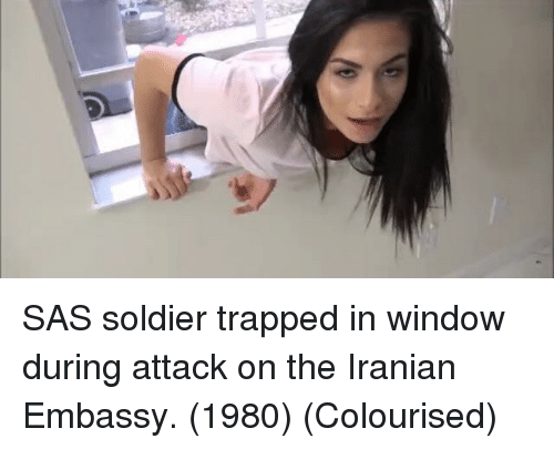 Iranian: SAS soldier trapped in window during attack on the Iranian Embassy. (1980) (Colourised)