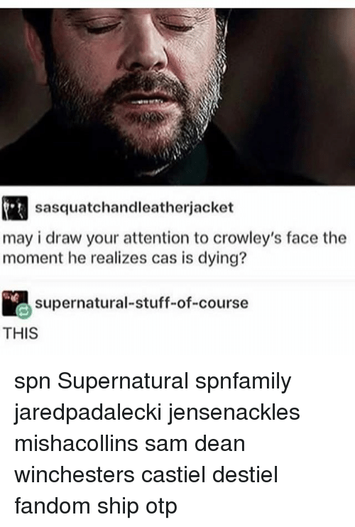 Memes, Stuff, and Supernatural: sasquatchandleatherjacket  may i draw your attention to crowley's face the  moment he realizes cas is dying?  supernatural-stuff-of-course  THIS spn Supernatural spnfamily jaredpadalecki jensenackles mishacollins sam dean winchesters castiel destiel fandom ship otp
