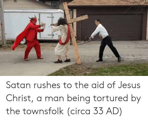 circa: Satan rushes to the aid of Jesus Christ, a man being tortured by the townsfolk (circa 33 AD)
