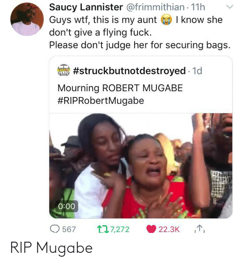 robert mugabe: Saucy Lannister @frimmithian 11h  Guys wtf, this is my aunt  don't give a flying fuck.  Please don't judge her for securing bags.  I know she  #struckbutnotdestroyed 1d  Mourning ROBERT MUGABE  #RIPRobertMugabe  0:00  117,272  567  22.3K RIP Mugabe
