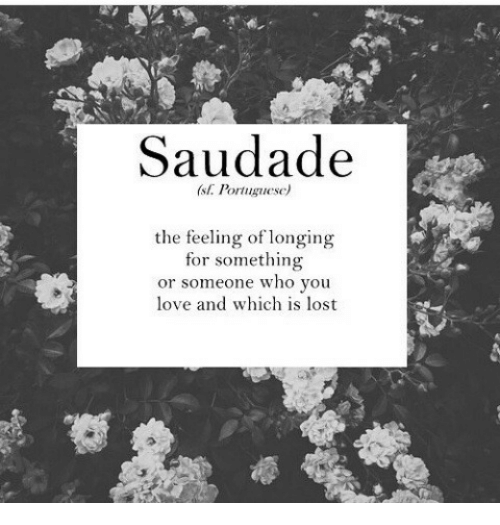 Saudade: Saudade  (st. Portuguese)  the feeling of longing  for something  or someone who you  love and which is lost