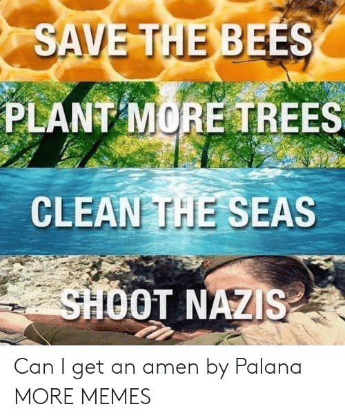 The Bees: SAVE THE BEES  PLANT MORE TREES  CLEAN THE SEAS  SHOOT NAZIS Can I get an amen by Palana MORE MEMES