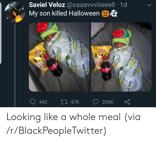 subway: Saviel Veloz @saaavvviiieeell 1d  My son killed Halloween  ES  Lays  Lays  B KET  -65% LESS  BAKED  65 E  gal  Coca-Cola  442  Li 47K  205K  Fresh.  PASSUBI  at  esh.  FEWAY  eat fr  lat fresh  SUBWAY  eat  fre  SUBWA  eat fre  eat fresh UBWAY  eat  SUBWA  eat resh  EWAY  eat fr Looking like a whole meal (via /r/BlackPeopleTwitter)