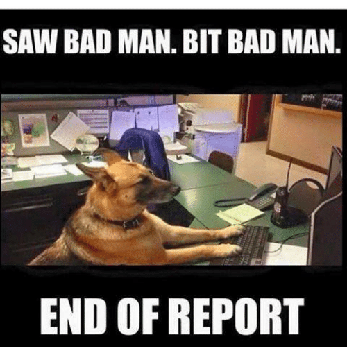 Bad, Saw, and Military: SAW BAD MAN. BIT BAD MAN.  END OF REPORT