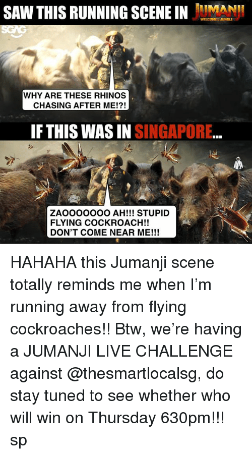 cockroaches: SAW THIS RUNNING SCEEINMAN  WELCOMEN JUNGLE  WHY ARE THESE RHINOS  CHASING AFTER ME!?!  IF THIS WAS IN SINGAPORE  ZAOOOOOOO AH!!! STUPID  FLYING COCKROACH!!  DON'T COME NEAR ME!!! HAHAHA this Jumanji scene <click link in bio to watch> totally reminds me when I'm running away from flying cockroaches!! Btw, we're having a JUMANJI LIVE CHALLENGE against @thesmartlocalsg, do stay tuned to see whether who will win on Thursday 630pm!!! sp