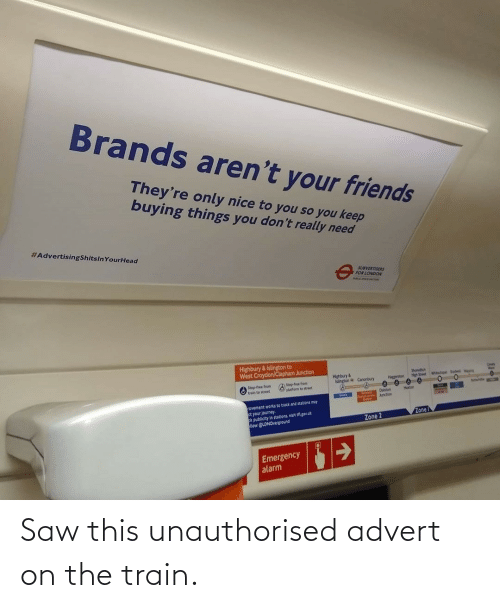 Train: Saw this unauthorised advert on the train.