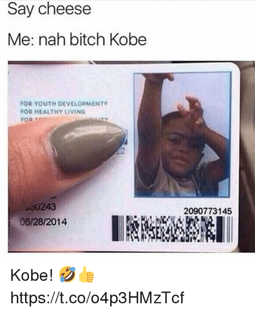 Bitch, Kobe, and Living: Say cheese  Me: nah bitch Kobe  FOR YOUTH DEVELOPMENT  FOR HEALTHY LIVING  FOR SC  00243  06/28/2014  2090773145 Kobe! 🤣👍 https://t.co/o4p3HMzTcf