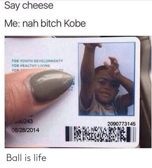 ball is life: Say cheese  Me: nah bitch Kobe  FOR YOUTH DEVELOPMENT  FOR HEALTHY LIVING  FOR S  O0243  2090773145  06/28/2014 Ball is life