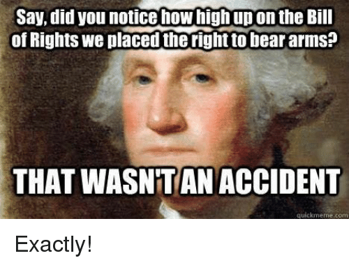 How High, Memes, and 🤖: Say did you notice how high upon the Bill  of Rights We placed the righttobear arms  THAT WASNTAN ACCIDENT  quickmeme.com Exactly!