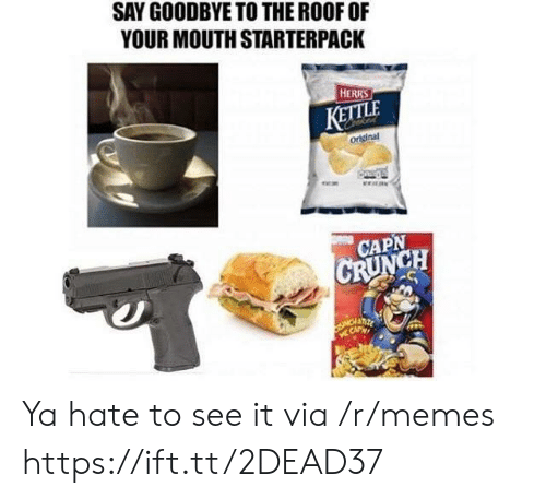 Starterpack: SAY GOODBYE TO THE ROOF OF  YOUR MOUTH STARTERPACK  HERRS  KETTLE  original  CAPN  CH Ya hate to see it via /r/memes https://ift.tt/2DEAD37