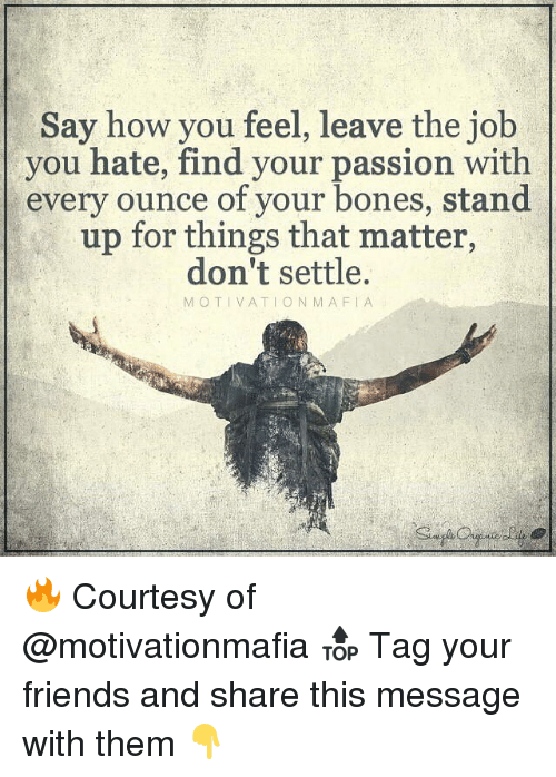 Memes, 🤖, and Mafia: Say how you feel, leave the job  you hate, find your passion with  every ounce of your bones, stand  up for things that matter,  don't settle.  MOTIVATION MAFIA 🔥 Courtesy of @motivationmafia 🔝 Tag your friends and share this message with them 👇