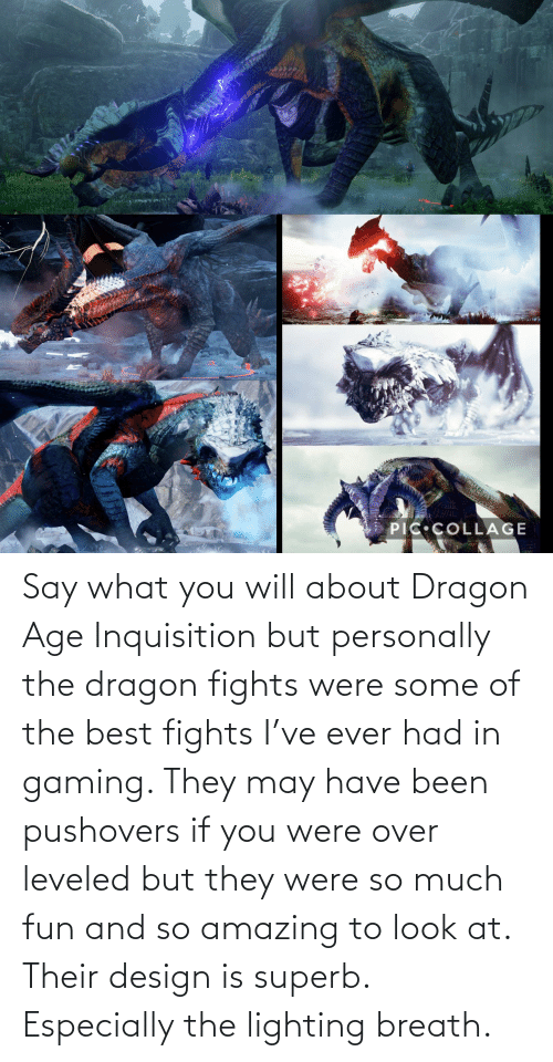 so amazing: Say what you will about Dragon Age Inquisition but personally the dragon fights were some of the best fights I've ever had in gaming. They may have been pushovers if you were over leveled but they were so much fun and so amazing to look at. Their design is superb. Especially the lighting breath.