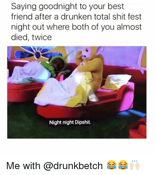 night night: Saying goodnight to your best  friend after a drunken total shit fest  night out where both of you almost  died, twice  Night night Dipshit. Me with @drunkbetch 😂😂🙌🏻