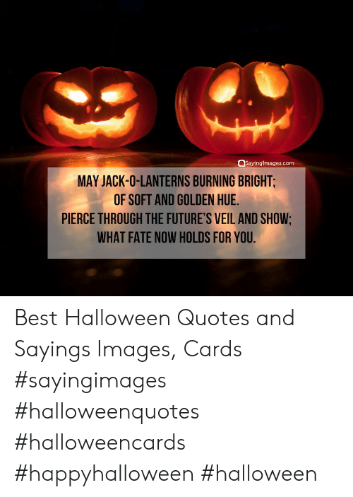futures: SayingImages.com  MAY JACK-O-LANTERNS BURNING BRIGHT;  OF SOFT AND GOLDEN HUE.  PIERCE THROUGH THE FUTURE'S VEIL AND SHOW;  WHAT FATE NOW HOLDS FOR YOU Best Halloween Quotes and Sayings Images, Cards #sayingimages #halloweenquotes #halloweencards #happyhalloween #halloween