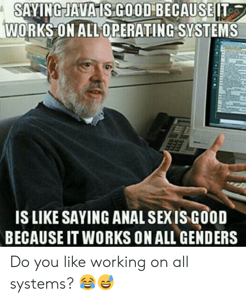 Sexis: SAYINGJAVAIS COOD BECAUSEIT  WORKS ON ALL OPERATING SYSTEMS  IS LIKE SAYING ANAL SEXIS GOOD  BECAUSE IT WORKS ON ALL GENDERS Do you like working on all systems? 😂😅
