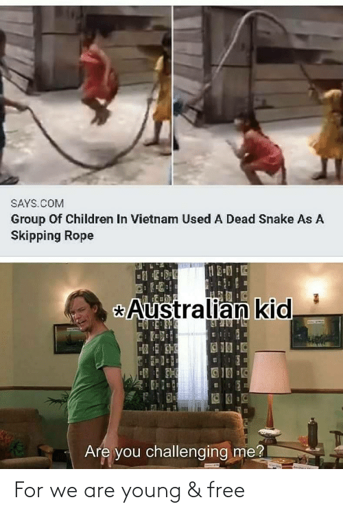 Snake: SAYS.COM  Group Of Children In Vietnam Used A Dead Snake As A  Skipping Rope  Australian kid  _BULULR N  123  Are you challenging me? For we are young & free