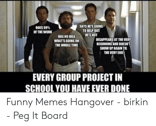 Funny Movie Memes: SAYS HES GOING .  DOES 99%  OF THE WORK  TO HELP BUT  HASNO IDEA HESNOT  DISAPPEARS AT THE VERY  BEGINNING AND DOESNT  WHATS GOING ON  THE WHOLE TIME  SHOW UPAGAIN  THE VERY END  EVERY GROUP PROJECT IN  SCHOOL YOU HAVE EVER DONE Funny Memes Hangover - birkin - Peg It Board