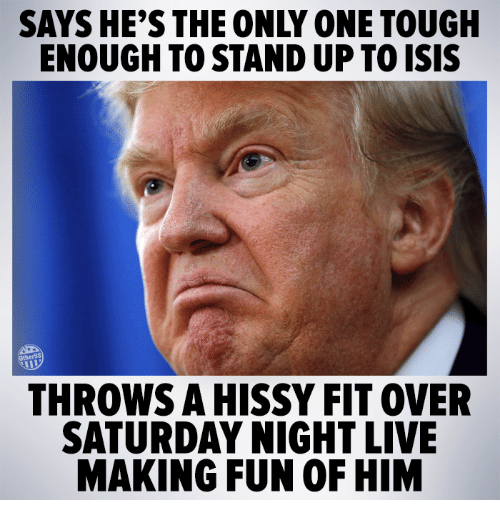 hissy fit: SAYS HE'S THE ONLY ONE TOUGH  ENOUGH TOSTANDUP TOISIS  THROWS A HISSY FIT OVER  SATURDAY NIGHT LIVE  MAKING FUN OF HIM