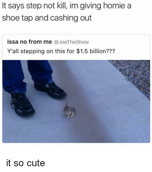 Cute, Homie, and Memes: says step not kill, im giving homie a  shoe tap and cashing out  issa no from me  @JoeThe5how  all stepping on this for $1.5 billion??? it so cute