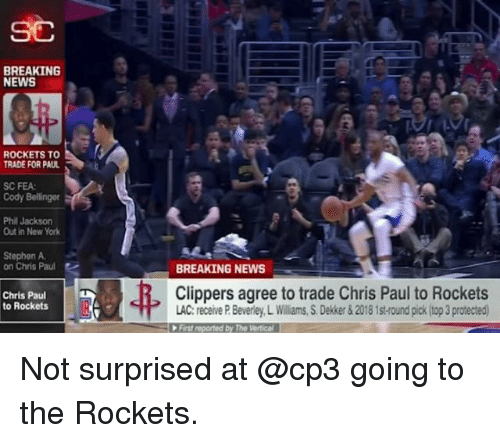 Chris Paul, Memes, and New York: SC  BREAKING  NEWS  ROCKETS TO  TRADE FOR PAUL  SC FEA  Cody Bellinger  Phil Jackson  Out in New York  Stephen A  on Chris Paul  BREAKING NEWS  弗  Chris Paul  to Rockets  Clippers agree to trade Chris Paul to Rockets  LAC: receive P. Beverley, L Williams, S.Dekker& 2018 1st-round pick(top 3 protected  First reported by The Vertical Not surprised at @cp3 going to the Rockets.