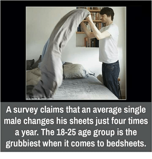 Memes, Time, and Change: SC Pauline St DenisCorbis  A survey claims that an average Single  male changes his sheets just  four times  a year. The 18-25 age group is the  grubbiest when it comes to bedsheets.