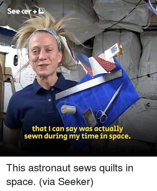 Memes, Space, and Time: SC  See cer +  that I can say was actually  sewn during my time in space. This astronaut sews quilts in space. (via Seeker)