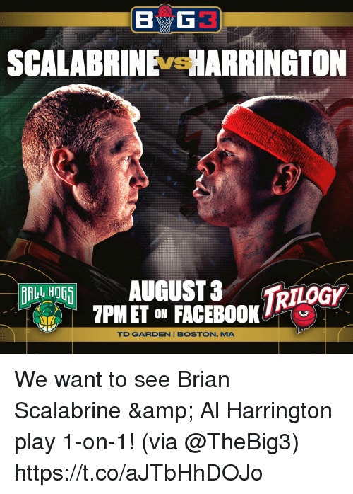 td garden: SCALABRINE ARRINGTON  VS  RTLOGY  7PMET ON FACEBOOK  TD GARDEN BOSTON, MA We want to see Brian Scalabrine & Al Harrington play 1-on-1!  (via @TheBig3) https://t.co/aJTbHhDOJo