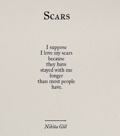 i suppose: ScaRS  I suppose  I love my scars  because  they have  stayed with me  longer  than most people  have.  Nikita Gil