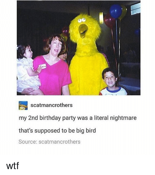 Birthday: scatmancrothers  my 2nd birthday party was a literal nightmare  that's supposed to be big bird  Source: scatmancrothers wtf