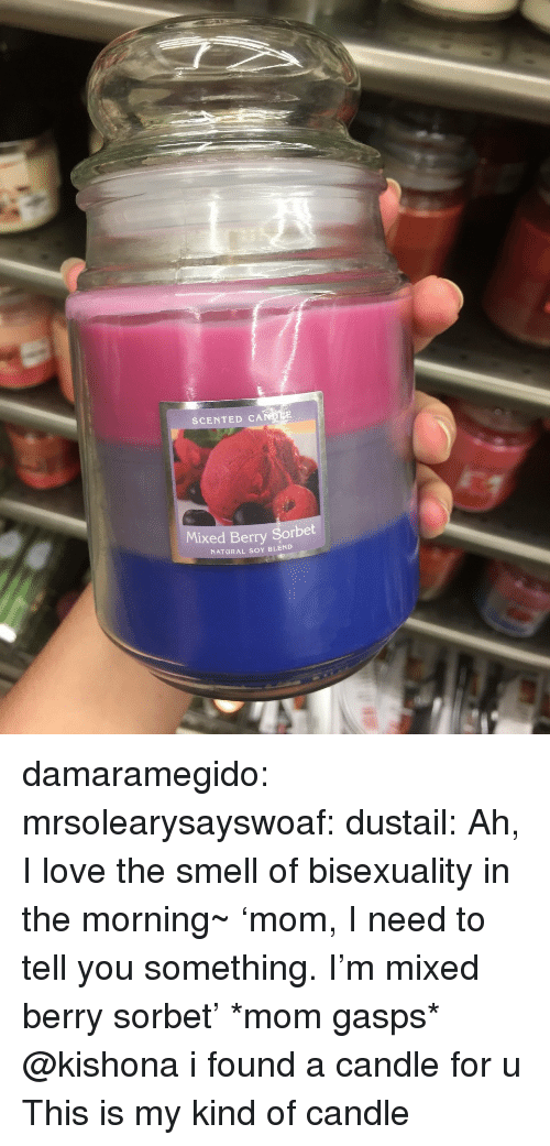 Bisexuality: SCENTED CA  Mixed Berry Sorbet  NATURAL SOY BLEND damaramegido: mrsolearysayswoaf:  dustail:   Ah, I love the smell of bisexuality in the morning~     'mom, I need to tell you something. I'm mixed berry sorbet' *mom gasps*    @kishona i found a candle for u   This is my kind of candle