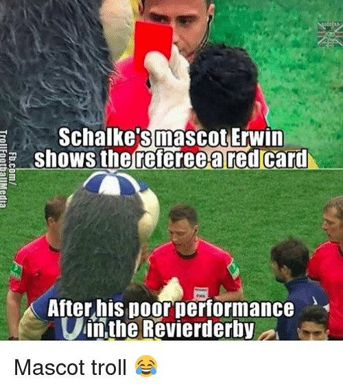 erwin: Schalke's mascot Erwin  shows the referee a red card  After his poor performance  in the Revierderby Mascot troll 😂