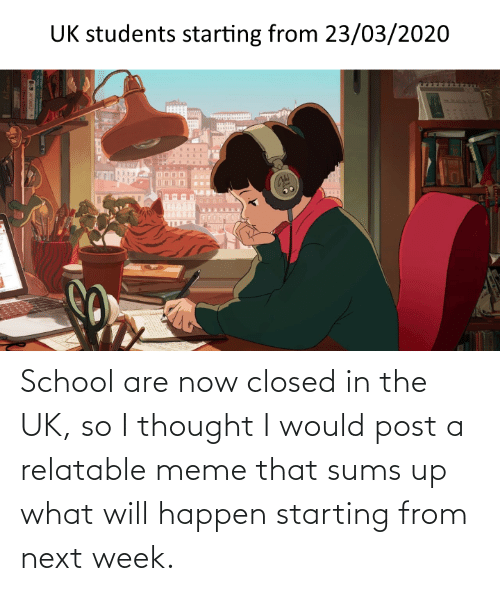 Would Post: School are now closed in the UK, so I thought I would post a relatable meme that sums up what will happen starting from next week.
