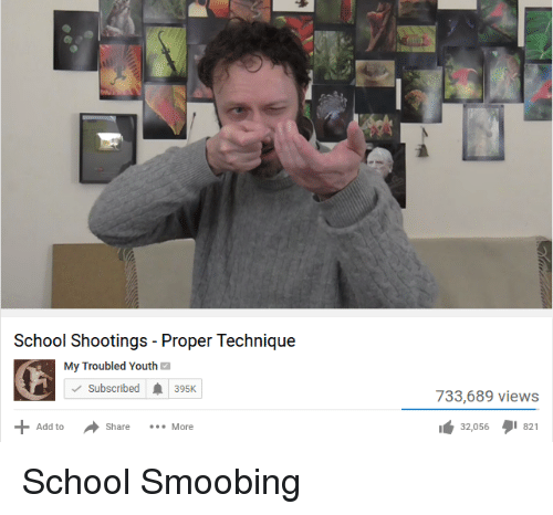 School, Youth, and Smooby: School Shootings Proper Technique  My Troubled Youth  M  Subscribed A 395K  Add to  Share  More  733,689 views  32,056 I 821
