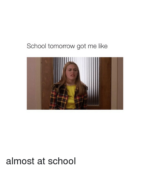 School Tomorrow Got Me Like Almost at School | School Meme ...