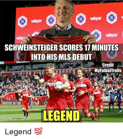 Memes, Soccer, and 🤖: SCHWEINSTEIGER SCORES 17MINUTES  INTO HIS MLS DEBUT  Credit  MyFutbolTrolls  SOCCER IN THE  LEGEND Legend 💯